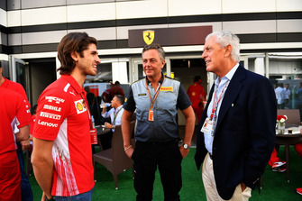Antonio Giovinazzi, Ferrari talks with Mario Isola, Pirelli Sporting Director and Tronchetti Provera, Pirelli President