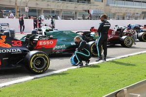 Lewis Hamilton, Mercedes and Valtteri Bottas, Mercedes looks at the Red Bull Racing RB16B