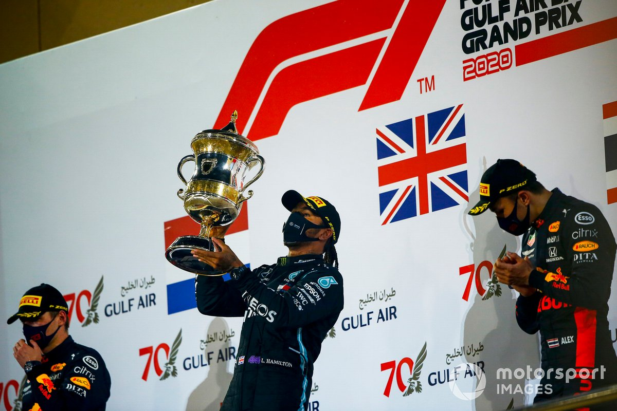 2020: 1. Lewis Hamilton, 2. Max Verstappen, 3. Alex Albon