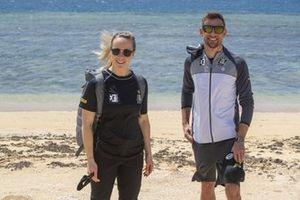Mikaela Ahlin-Kottulinsky, JBXE Extreme-E Team, en Jenson Button, JBXE Extreme-E Team