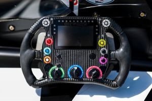 Sebastien Bourdais, A.J. Foyt Enterprises Chevrolet's steering wheel detail