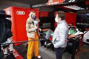 TV Presenter Nicki Shields, interviews Allan McNish, Team Principal, Audi Sport ABT Schaeffler