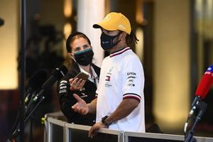 Lewis Hamilton, Mercedes-AMG F1, is interviewed after Qualifying