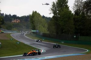 Lando Norris, McLaren MCL35M, Valtteri Bottas, Mercedes W12, and George Russell, Williams FW43B