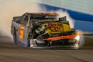 Noah Gragson, JR Motorsports, Chevrolet Camaro Bass Pro Shops TrueTimber BRCC wreck