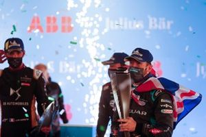 Sam Bird, Panasonic Jaguar Racing, 1st position,Jean-Eric Vergne, DS Techeetah , 3rd position, and Robin Frijns, Envision Virgin Racing, 2nd position, leave the podium with their trophies