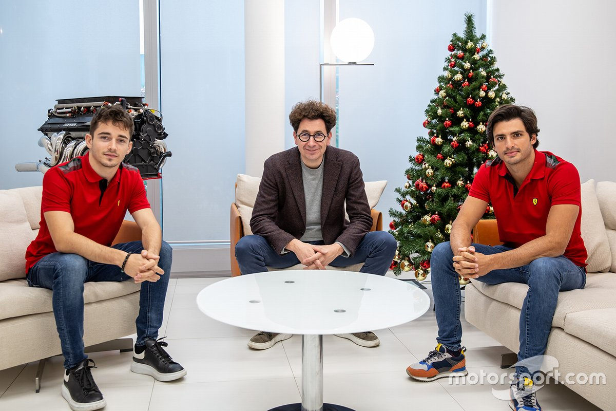 Charles Leclerc, Mattia Binotto and Carlos Sainz Jr. at Ferrari