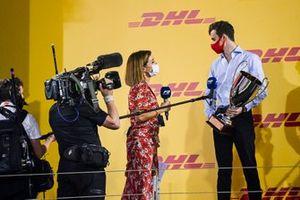 Natalie Pinkham, Sky TV speaks to F2 Championship 2nd position Callum Ilott, UNI-Virtuosi on the podium with the trophy
