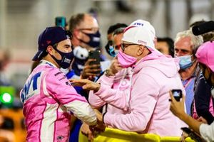 Sergio Perez, Racing Point, 1st position, celebrates in Parc Ferme with his team