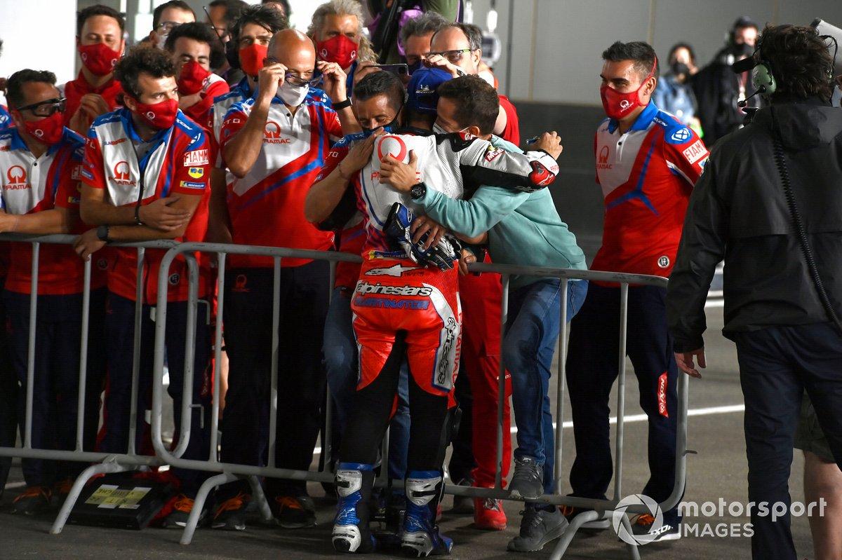 Tercer lugar Jorge Martín, Pramac Racing, father, manager
