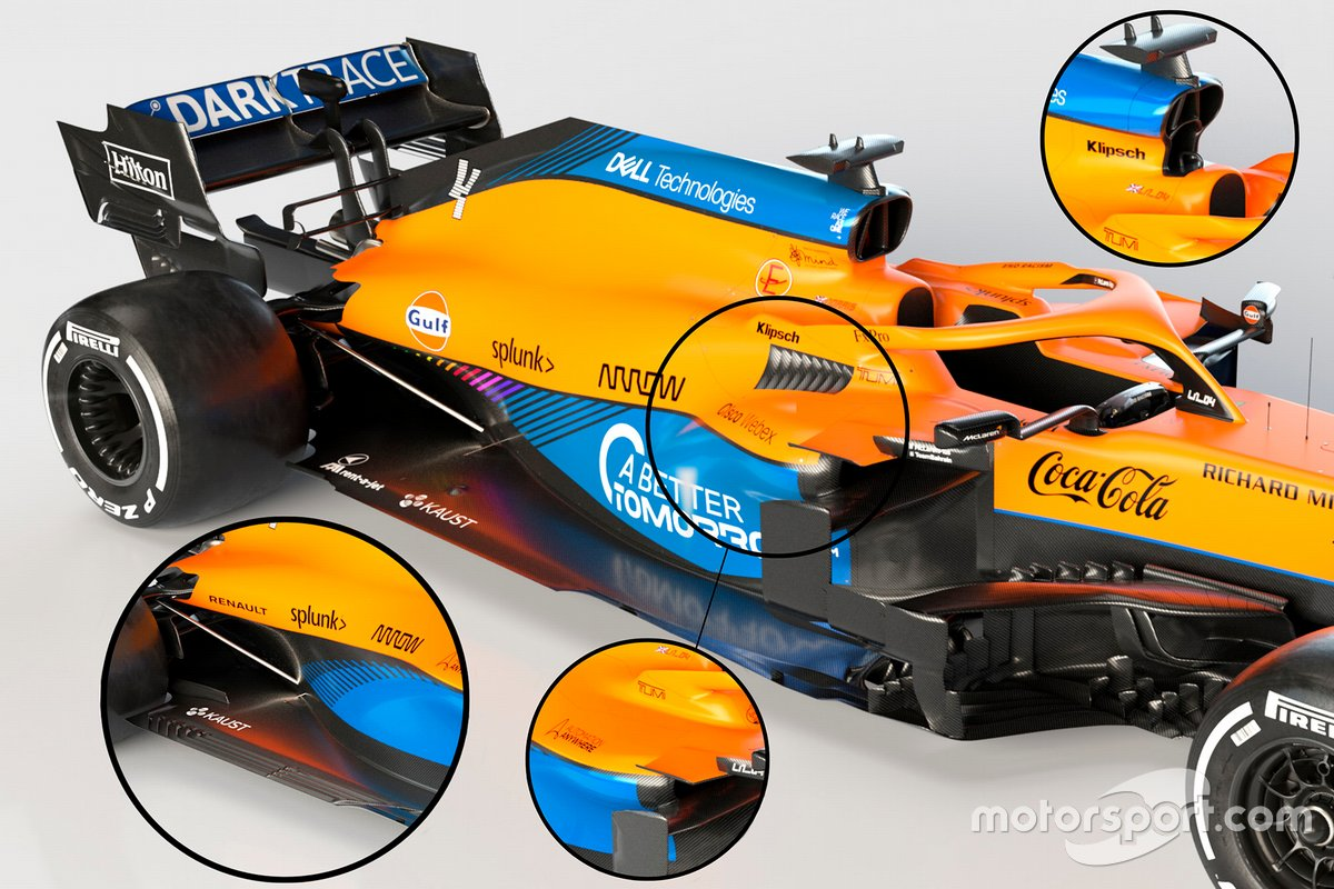 McLaren MCL35M sidepods y airbox