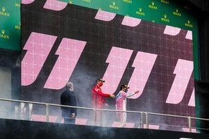 Sebastian Vettel, Ferrari, 3rd position, and Sergio Perez, Racing Point, 2nd position, on the podium