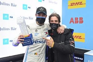 Pole Sitter Stoffel Vandoorne, Mercedes-Benz EQ, EQ Silver Arrow 02 celebrates in Parc Ferme with the trophy, Antonio Felix Da Costa, DS Techeetah