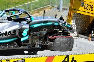 The damaged car of Valtteri Bottas, Mercedes AMG W10