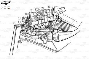 Компоновка турбонагнетателя в McLaren MP4/4 Honda 1988 года