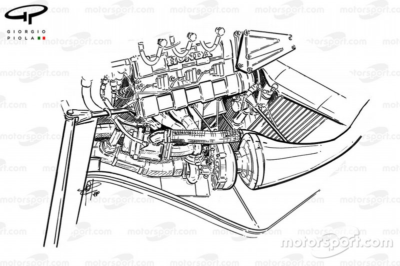 McLaren MP4-4 1988 Honda turbocharger installation