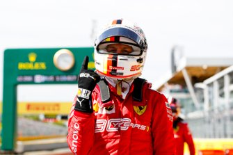 Sebastian Vettel, Ferrari celebrates after taking pole position in Parc Ferme