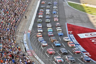 William Byron, Hendrick Motorsports, Chevrolet Camaro Liberty Patriotic, Aric Almirola, Stewart-Haas Racing, Ford Mustang Smithfield and Kyle Busch, Joe Gibbs Racing, Toyota Camry M&M's Red, White & Blue 3 wide salute