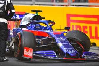 The damaged car of Daniil Kvyat, Toro Rosso STR14, after his crash in FP2