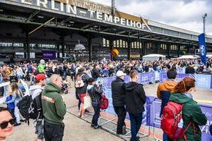Fans outside Berlin-Tempelhof Airport
