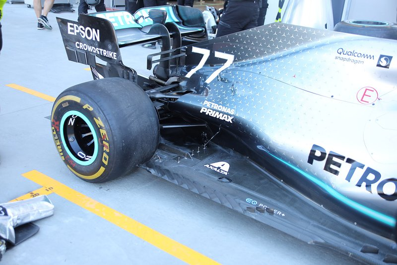 Valtteri Bottas, Mercedes AMG F1 W10 rear wing detail
