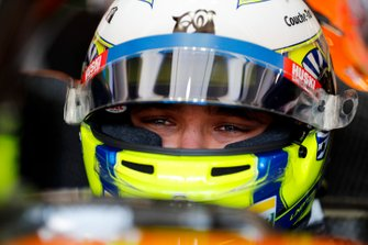 Lando Norris, McLaren in his cockpit