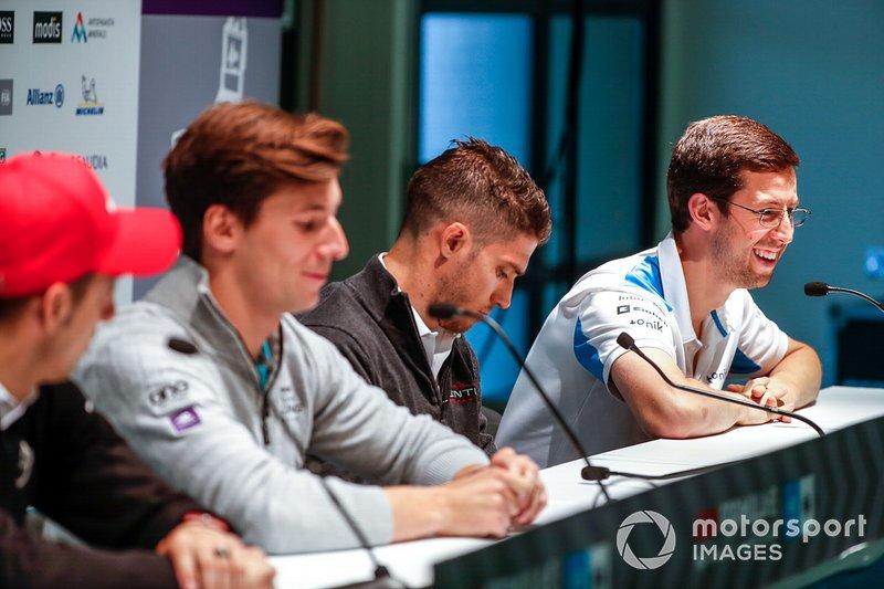 Alexander Sims, BMW I Andretti Motorsports, lors de la conférence de presse avec Edoardo Mortara, Venturi Formula E, Alex Lynn, Panasonic Jaguar Racing, Sébastien Buemi, Nissan e.Dams