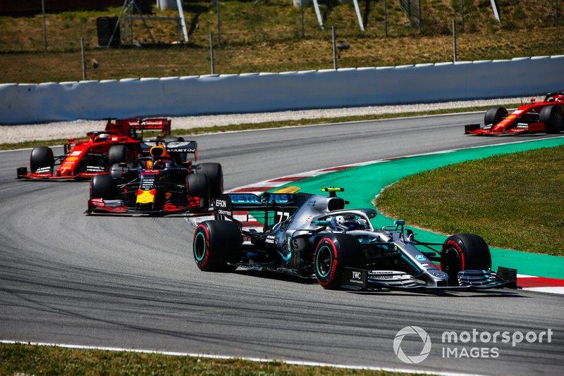 Valtteri Bottas, Mercedes AMG W10, Max Verstappen, Red Bull Racing RB15, Sebastian Vettel, Ferrari SF90