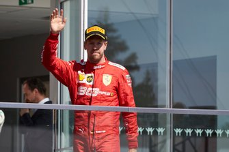 Sebastian Vettel, Ferrari, 2nd position, arrives on the podium