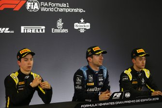 Race winner Nicholas Latifi, Dams, second place Jack Aitken, Campos Racing, third place Guanyu Zhou, Uni Virtuosi Racing, in the Press Conference