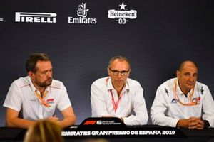 Steve Nielsen, Stefano Domenicali and Bruno Michel in Press Conference for new F2 tyres