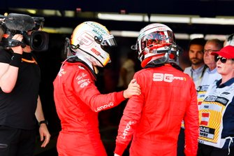 Sebastian Vettel, Ferrari and Charles Leclerc, Ferrari in Parc Ferme
