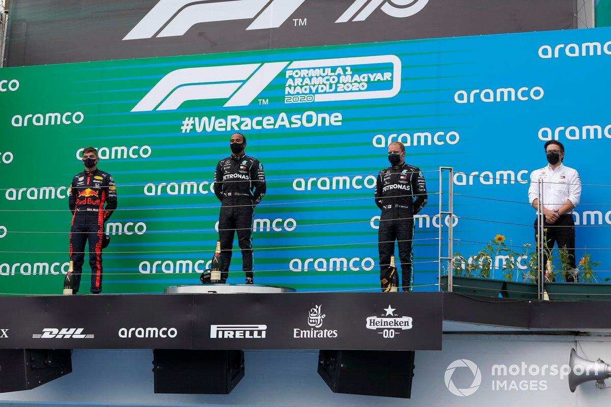 Lewis Hamilton, Mercedes-AMG Petronas F1, Max Verstappen, Red Bull Racing and Valtteri Bottas, Mercedes-AMG Petronas F1 on the podium