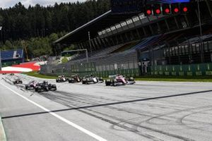 Sergio Perez, Racing Point RP20, Lewis Hamilton, Mercedes F1 W11, Pierre Gasly, AlphaTauri AT01, Lance Stroll, Racing Point RP20, and other drivers practice their start procedures