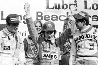 Podium: race winner Gilles Villeneuve, Ferrari, second place Jody Scheckter, Ferrari, third Alan Jones, Williams