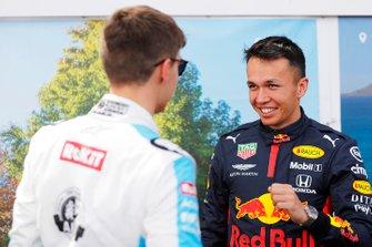 George Russell, Williams Racing, with Alex Albon, Red Bull Racing