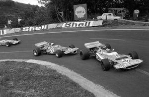 Henri Pescarolo, Matra MS120 leads Jack Brabham, Brabham BT33 Ford