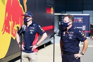 Max Verstappen, Red Bull Racing and Christian Horner, Team Principal, Red Bull Racing speak to the media