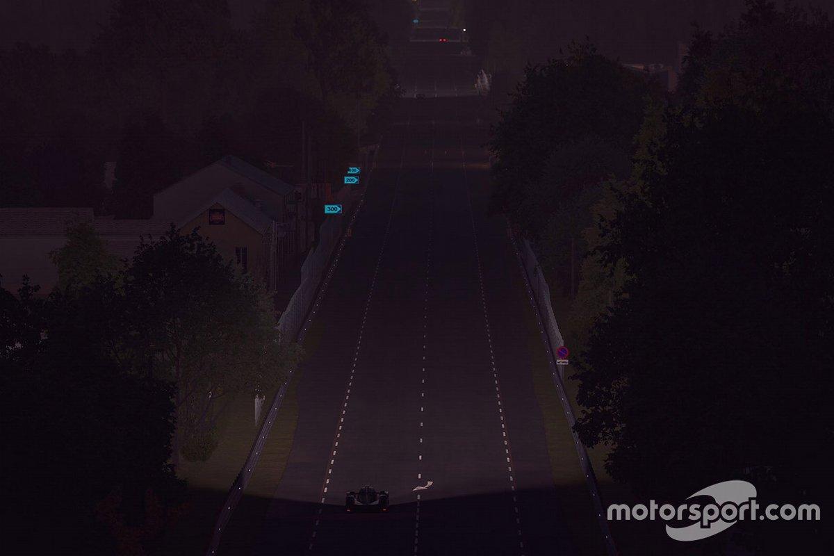 Acción nocturna de la pista