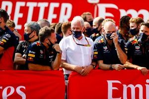 Christian Horner, Team Principal, Red Bull Racing, Helmut Marko, Consultant, Red Bull Racing, Adrian Newey, Chief Technical Officer, Red Bull Racing, and the Red Bull team celebrate a podium for Max Verstappen, Red Bull Racing