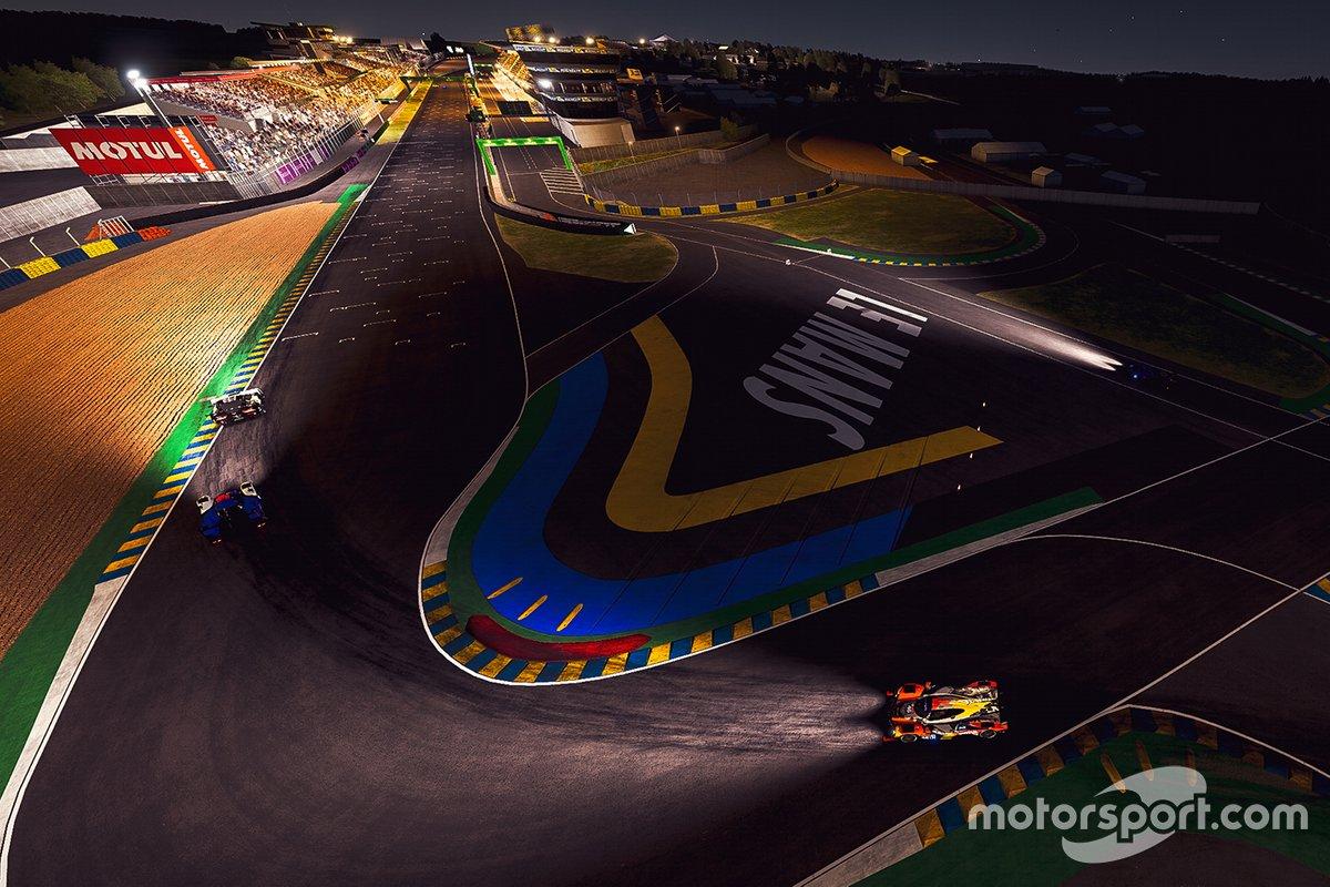 Vista aérea del circuito en la noche