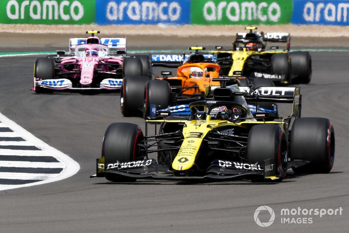 Daniel Ricciardo, Renault F1 Team R.S.20, Lando Norris, McLaren MCL35, Lance Stroll, Racing Point RP20, Esteban Ocon, Renault F1 Team R.S.20