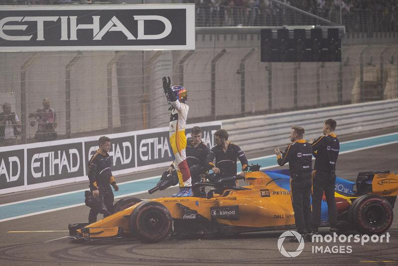Fernando Alonso, McLaren MCL33 celebra en Parc Ferme
