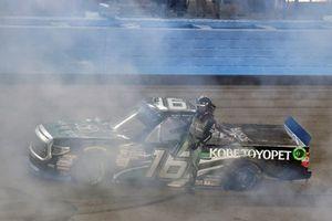 Brett Moffitt, Hattori Racing Enterprises, Toyota Tundra KOBE celebrates his win with a burnout
