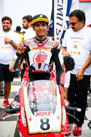Race winner Rajiv Sethu, Honda