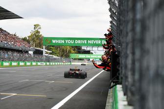 Race Winner Max Verstappen, Red Bull Racing RB14 crosses the line