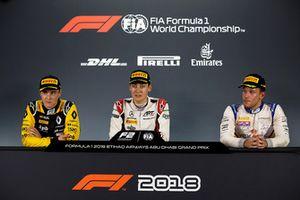 Artem Markelov, RUSSIAN TIME, George Russell, ART Grand Prix, e Luca Ghiotto, Campos Racing, durante la conferenza stampa