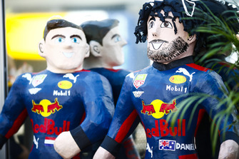 Mascots of Daniel Ricciardo, Red Bull Racing, and Max Verstappen, Red Bull Racing