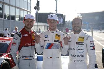 Top 3: Pole sitter Marco Wittmann, BMW Team RMG, René Rast, Audi Sport Team Rosberg, Gary Paffett, Mercedes-AMG Team HWA