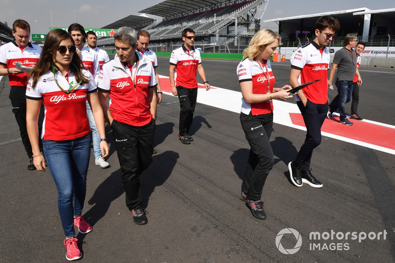 Tatiana Calderon, Sauber Test Driver and Charles Leclerc, Sauber walk the track